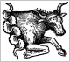 A 1491 woodcut of the classical representation of Taurus as the front half of a bull